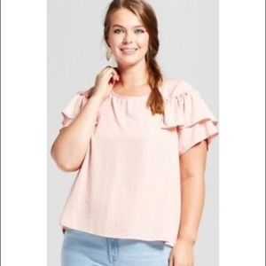 Women's Plus Size Woven Top With Ruffle Details